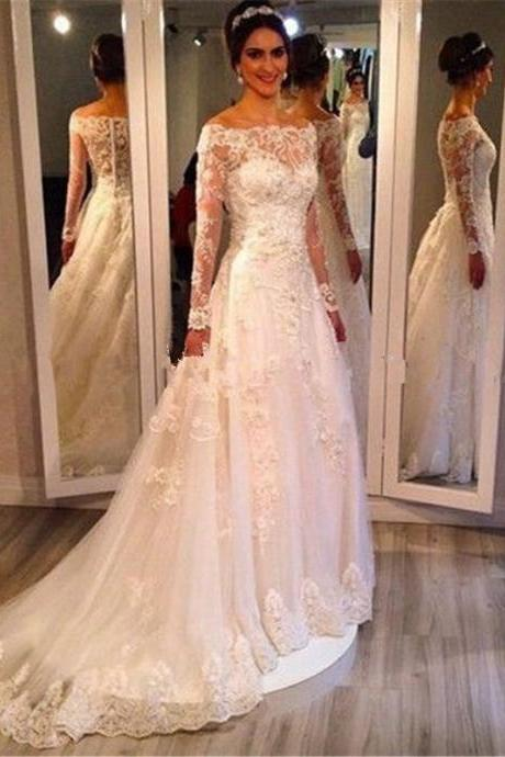 Romantic Long Sleeve Illusion Neckline Lace Wedding Dress 2018 Bridal Dress Custom Made Dress New Hot Selling