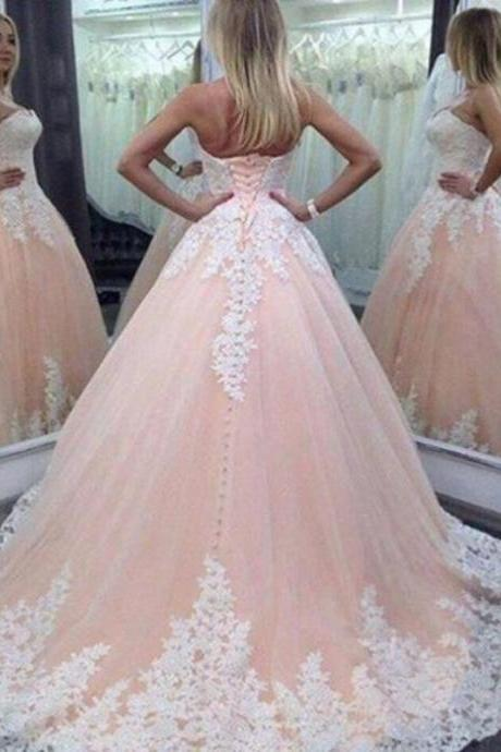 Stunning Strapless Wedding Dresses A-LineTop Applique Princess Ball Guest Tulle Chapel Train Quinceanera Bridal Gowns