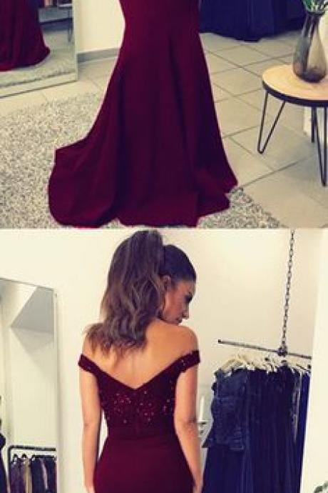 Burgundy Lace V-neck Long Mermaid Prom Dresses Beaded Evening Gowns