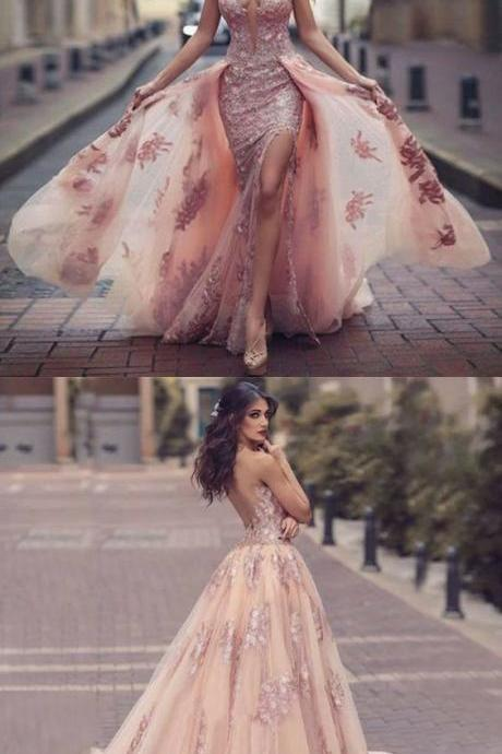 A-unique pink backless prom dresses with lace, modest detachable tulle party dresses with appliques, elegant a line sweep train evening gowns