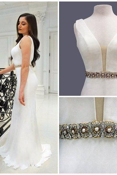 Prom Dress, Hot Sale White Mermiad Satin Beading Crystals Prom Dresses Evening Dress Party Dresses Gowns,Graduation Dresses,Wedding Guest Prom Gowns, Formal Occasion Dresses,Formal Dress