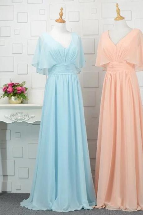 Chiffon Evening Dress, Vintage V Neck Long Prom Dress, Simple Evening Gown