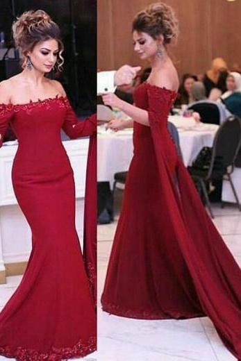 Charming Long Sleeve Evening Dress, Sexy Long Mermaid Prom Dress with Appliques