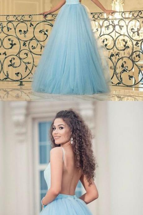 light blue prom dress ball gowns,backless prom dress,sexy prom dress,prom gowns 2018,elegant prom dress