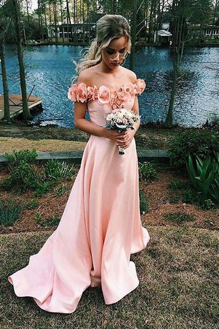 Blush Pink Off-Shoulder Floral Applique Neckline Prom Dress, Bridesmaid Dress