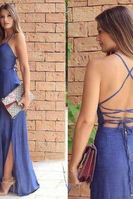 Slit Side Long Prom Dress, Simple Blue Prom Dress, Halter Backless Prom Dress,Prom Dress
