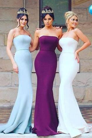 2018 New Fashion Simple Mermaid Bridesmaid Dresses Satin Sweetheart Floor Length Wedding Party Dress Long Maid of Honor Gowns