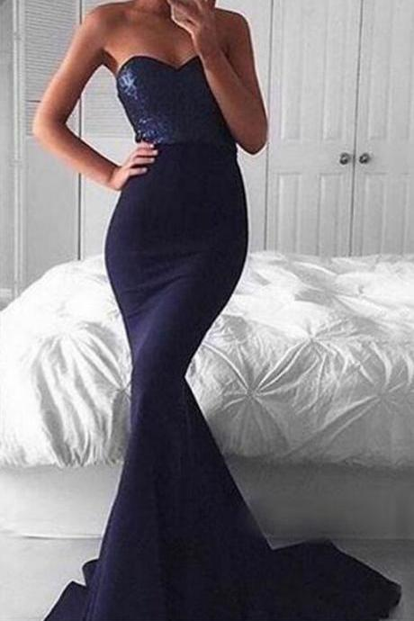 Beaded Prom Dresses,Mermaid Prom Dresses,Long Prom Dresses,Strapless Prom Dresses,Navy Blue Prom Dresses,Modest Evening Dresses,Classy Party Dresses,Sexy Women Dresses