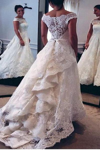 Wedding Dress, Vintage Wedding Dress, A-Line Wedding Dress, Bateau Wedding Dress, Lace Wedding Dress, New Arrival Wedding Dress, Scoop Wedding Dress, Bridal Gown, Custom Dress, Hot Sale Wedding Dress