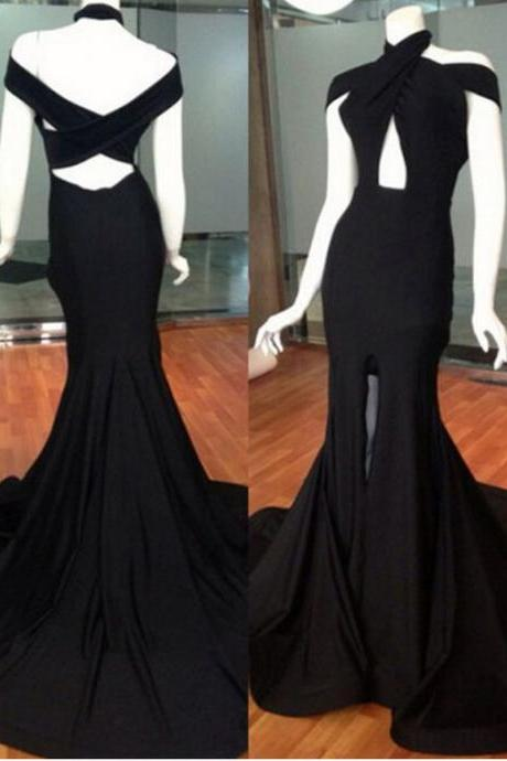 Long Black Satin Mermaid Prom Dresses High Slit Evening Dresses Backless Formal Gowns Sexy Party Pageant Dresses