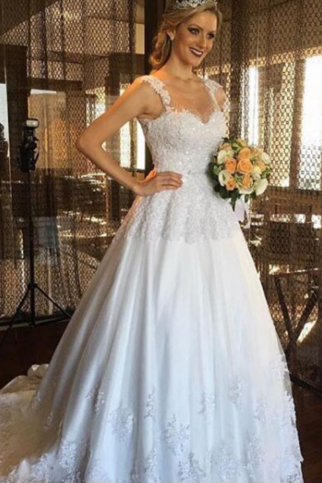A-line Elegant Wedding Dress Appliques Tulle Long Wedding Dresses Bridal Gown,Spaghetti Straps A Line Lace Wedding Dress,Simple Elegant Lace Simple Bridal Dress