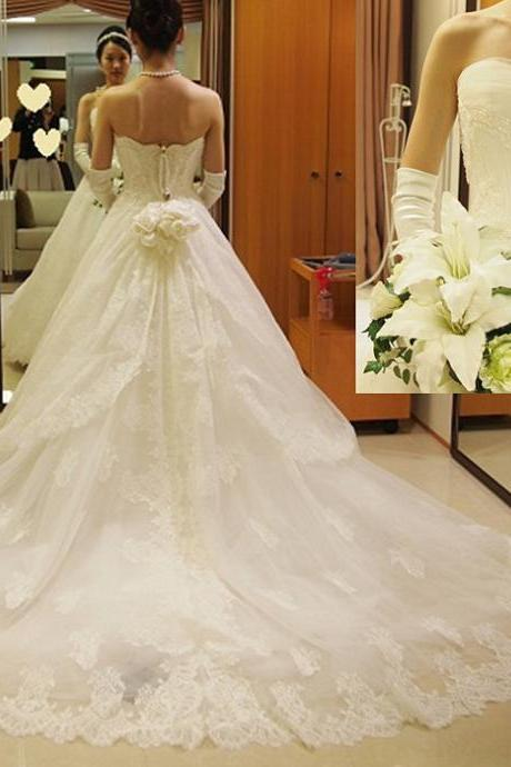 Top Wedding Dress,Lace Wedding Dress,Romantic Wedding Dress,Floor Length Wedding Dress,Strapless Wedding Dress,A-line Wedding Dress,Sleeveless Wedding Dress,Modest Wedding Dress,Bridal Dresses