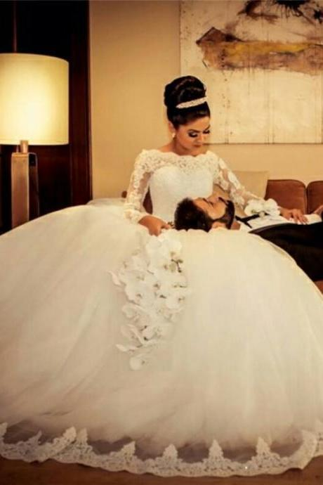 Wedding Dresses,Custom Wedding Dress,O-Neck Wedding Dresses,A-line Wedding Dress,Appliques Wedding Dresses,Floor-length Wedding Dress,Long Sleeve Wedding Dresses,Organza Wedding Dress,Cheap Wedding Dress