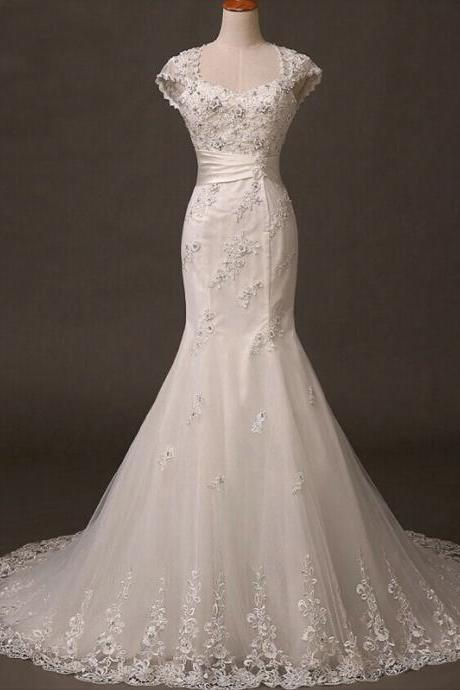 Long Wedding Dress, Lace Wedding Dress, Tulle Wedding Dress, Cap Sleeve Bridal Dress, Open Back Wedding Dress, Applique Mermaid Wedding Dress,