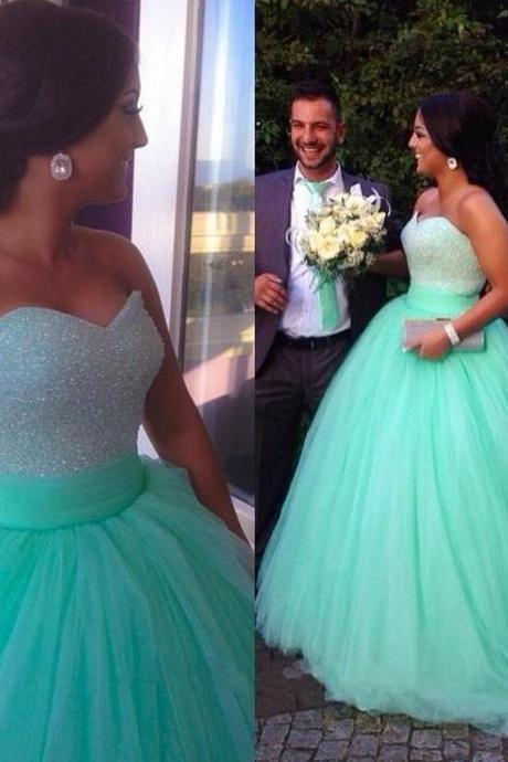 A line tulle prom dress, Mint prom dress, ball gown prom dresses, prom dresses 2019, elegant prom dresses