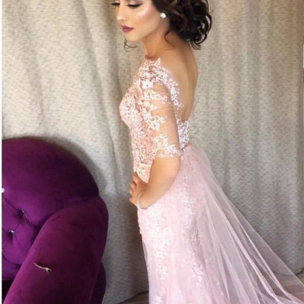 modest evening dress,pink prom dress,lace prom dress,mermaid prom dress,mermaid evening dress