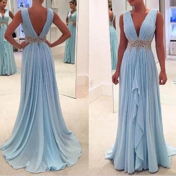 Chic Chiffon Blue Long V-neckline Prom Dresses, Featuring Plunge V Neckline Formal Dresses, Light Blue Evening Gowns