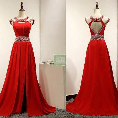Long Prom Dress,Chiffon Prom Dresses,Beading Prom Dresses,Evening Dress