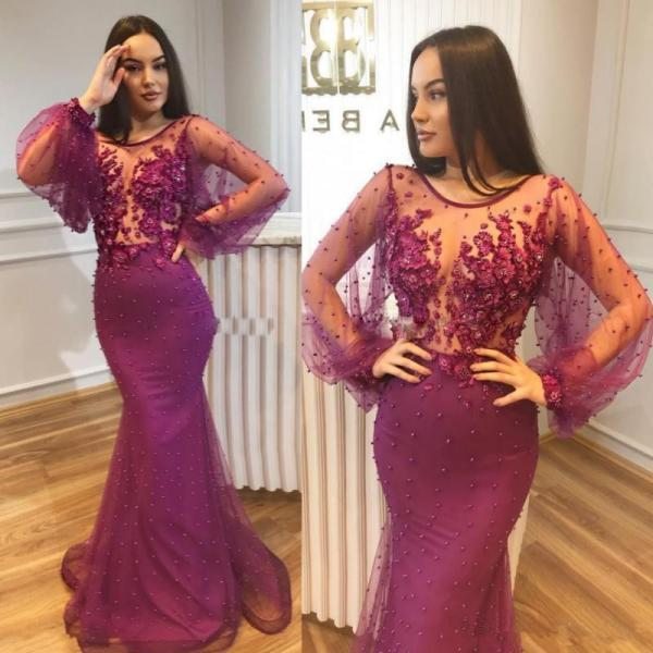 Sexy Mermaid Prom Dresses Illusion Neckline Long Sleeves 3D Applique Beaded Evening Dress Celebrity Prom Party Gowns